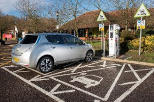 Nissan Leaf: The Electric Highway covers 90% of the UK's motorway services (Image: Ecotricity)