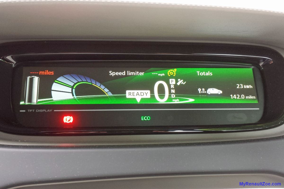 Renault ZOE Dashboard after range record (Image: T. Larkum)