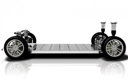 The Tesla 'skateboard' chassis including batteries, motor and suspension (Image: Tesla Motors)