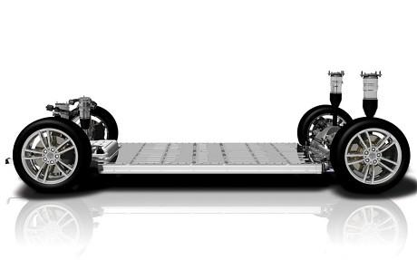 The Tesla 'skateboard' chassis including batteries, motor and suspension (Image: Tesla Motors)