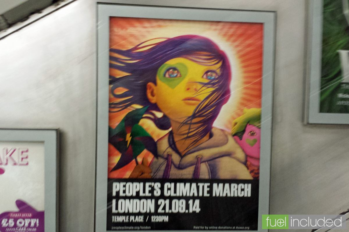 Climate March poster on the Underground (Image: T. Larkum)