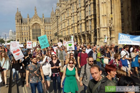 London Climate March - passing the Palace of Westminster (Image: T. Larkum)