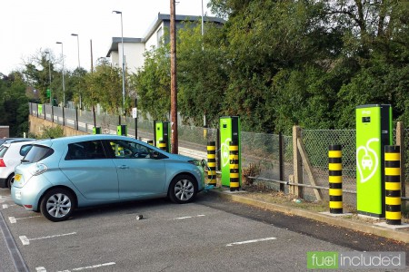 Fast charging at one of the dozen rapid chargers at Stanmore (Image: T. Larkum)