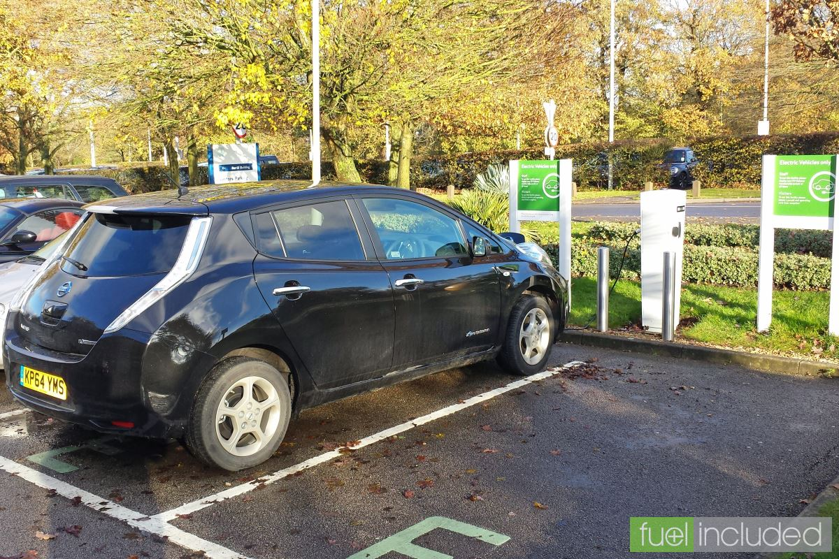 Nissan Leaf in one of the OU electric vehicle scheme parking spaces (Image: T. Larkum)