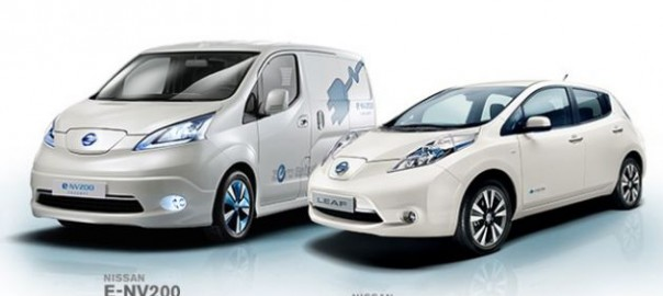 Nissan e-NV200 electric van and Leaf electric car (Image: Nissan)