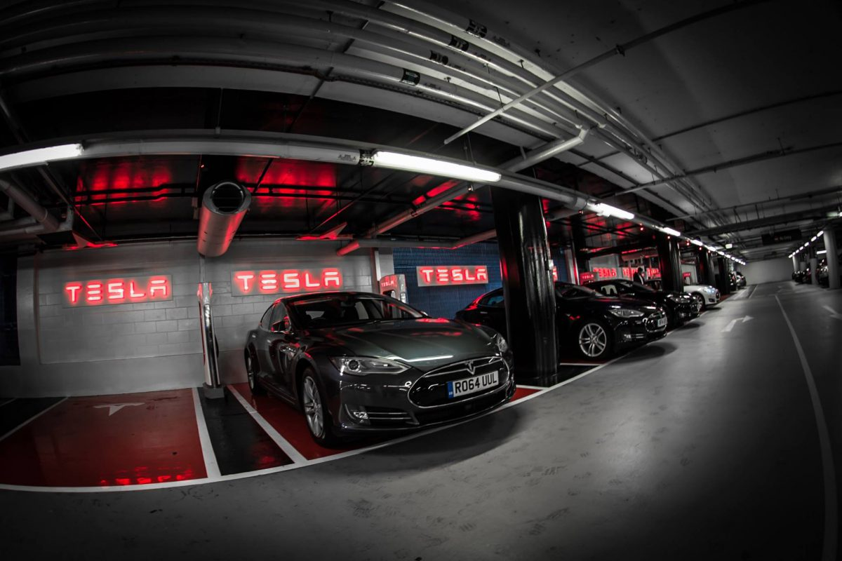 Tesla Supercharging Station at Westfield, London (Image: Tesla)