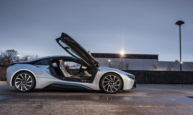 On the road: BMW i8 (Image: The Guardian)