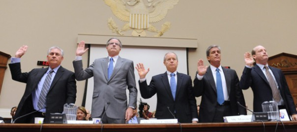 Exxon Mobil CEO Rex Tillerson, Chevron CEO John Watson, ConocoPhillips CEO James Mulva, Shell president Marvin Odum and BP America president Lamar McKay are sworn-in to testify before a US House of Representatives subcommittee hearing on energy in 2010. (Image: Michael Reynolds/EPA)