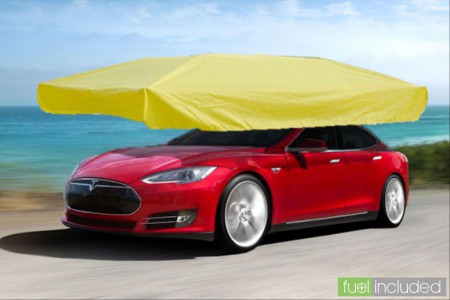 Automatically Deployed Tesla Rain Protection System (Image Credit: FuelIncluded.com)