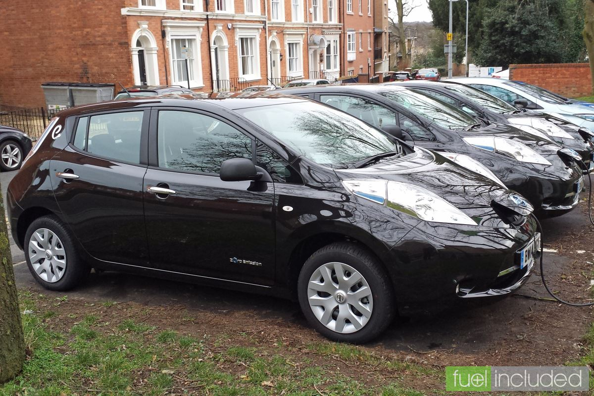 e-Car Club Nissan Leafs outside Northampton Derngate (Image: T. Larkum)