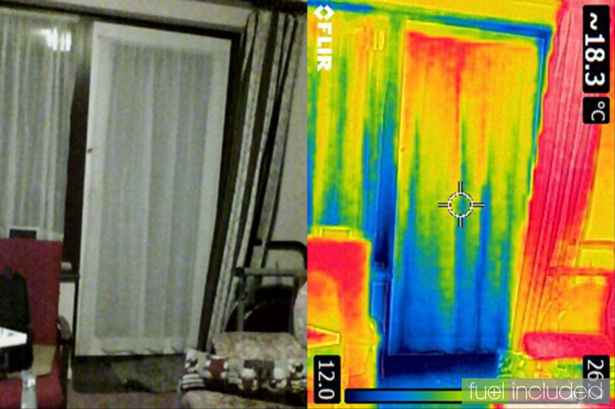 Figure 3: Composite image of patio door showing cold spot along bottom edge (Image: T. Larkum)