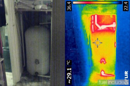 Figure 1: Composite image of hot water tank before insulating (Image: T. Larkum)