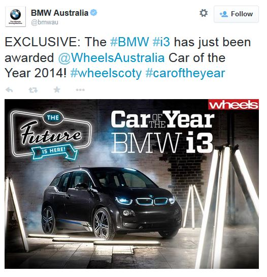 BMW i3 Wins One More Award (Image: Wheels)