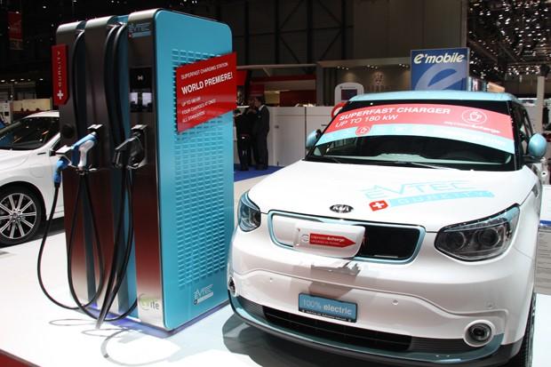 EVTEC 180kW rapid charger and Kia Soul EV (Image: Automobile-Propre)