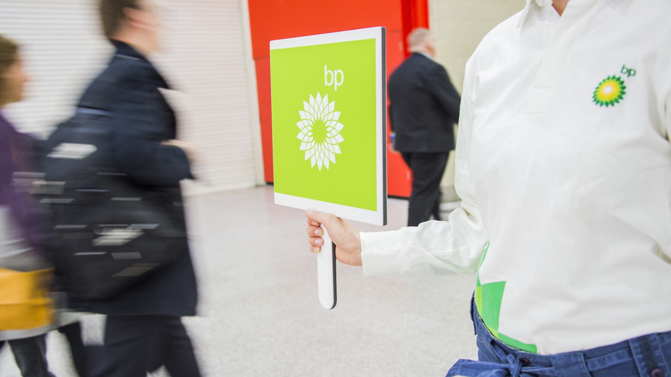 Environmental protestors outside the BP meeting at the Excel Centre, London, on April 16, 2015 (Image; Rex Features via AP Images/Associated Press)