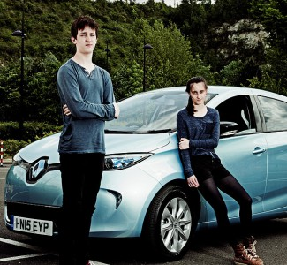 No sweat: first-time learner drivers Joe and Anna found the all-electric Renault Zoe a relaxing car to drive on the closed circuit (Image: L. Csernohlavek)