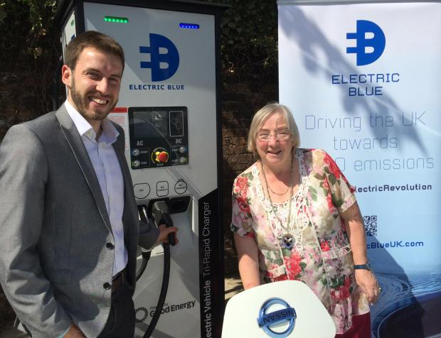 The Deputy Mayor of St Albans, Gill Clark, is pictured with the MD of Electric Blue, Alex Calnan, who is from Redbourn