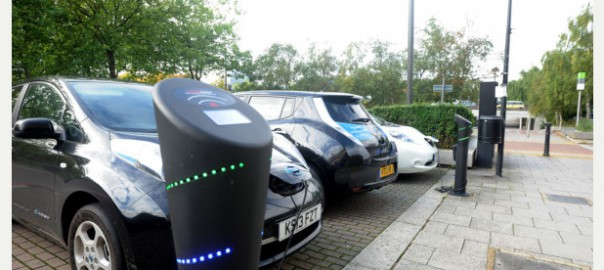 Electric cars charging in Central Milton Keynes