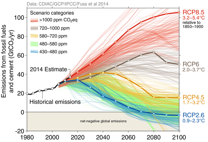 Climate modelling scenarios out to 2100 (Image: Global Carbon Project)