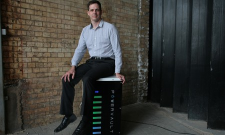 Joe Warren and his Powervault domestic solar power battery (Image: M. Godwin/Guardian)