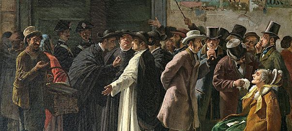 "Painting: ""The Closed Bank"" (Die geschlossene Bank). 1870s. Edoardo Matania (1847–1929). Via Wikimedia Commons."