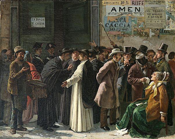 "Painting: ""The Closed Bank"" (Die geschlossene Bank). 1870s. Edoardo Matania (1847–1929). Via Wikimedia Commons."