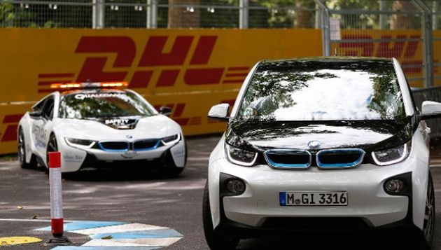 The BMW i3 and i8 used by Formula E