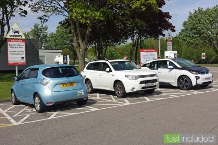 My ZOE plus an Outlander PHEV and i3 charging at London Gateway (Image: T. Larkum)