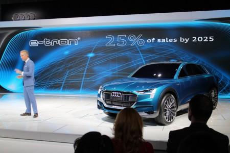 Audi of America president Scott Keogh with Audi e-Tron Quattro Concept, 2015 Los Angeles Auto Show
