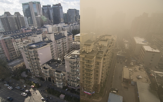 Two pictures of Beijing taken 24 hours apart show the Chinese capital engulfed by smog earlier this month (Image: Rex)