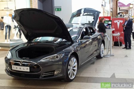 The Tesla stand in the Touchwood shopping centre, Solihull (Image: T. Larkum)