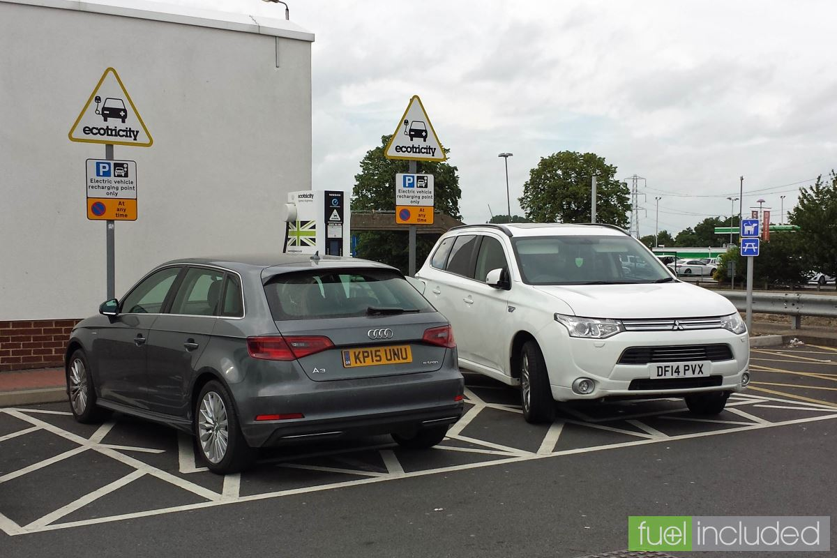 A full charge point at Newport Pagnell services, and my first ever sight of an Audi A3 e-tron (Image: T. Larkum)