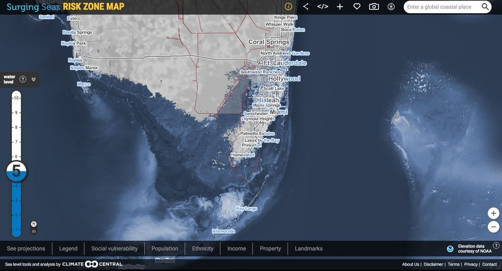 """South Florida and """"Miami Island"""" in 2100 after 5 feet of sea level rise (via Climate Central)."""