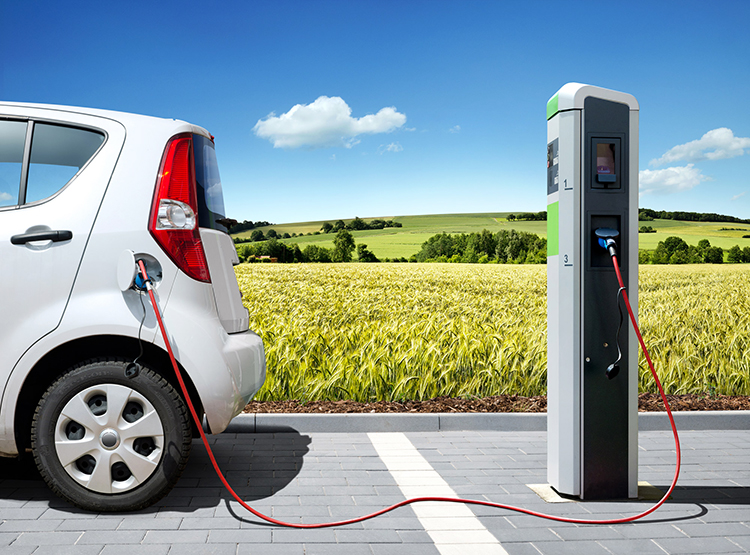 Electric Vehicle at charging station