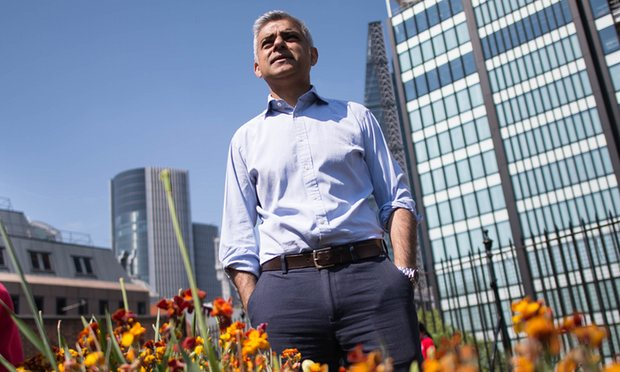 Sadiq Khan at Sir John Cass's Foundation primary school roof garden where he announced new plans to clean up London's air pollution (Image: S. Rousseau/PA)