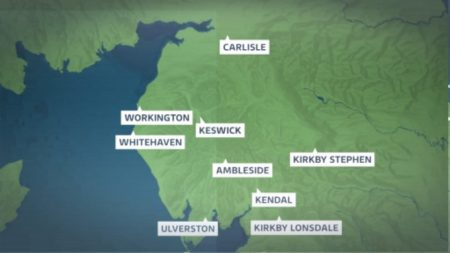 A map highlighting the nine locations of the new electric vehicle charging points (Image: ITV Border)