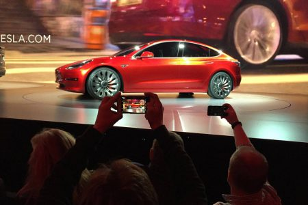 Tesla's Model 3 is expected to be available next year for $35,000 (Image: J. Pritchard/Associated Press)