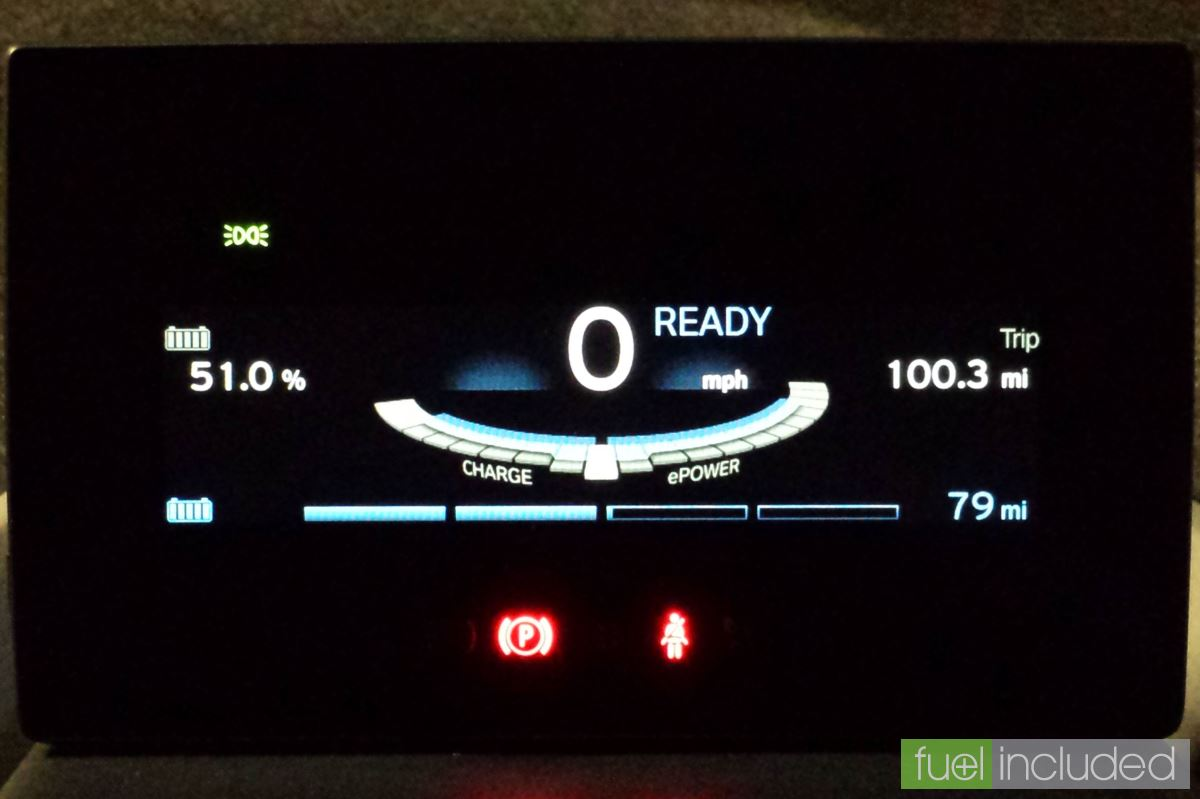 Our i3 teasing 100 miles on half the battery (Image: T. Larkum)