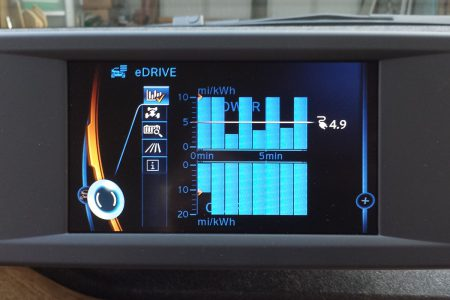The eDRIVE eco results showing 10+ mi/kWh consumption and 20+ mi/kWh regeneration (Image: T. Larkum)
