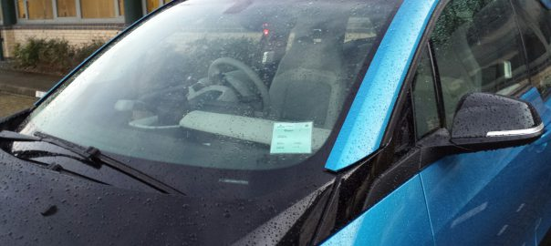 My i3 proudly showing off its new parking permit (Image: T. Larkum)
