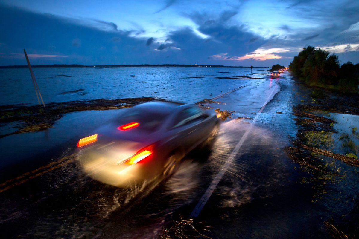 Highway 80, the only road to Tybee Island, Ga., in June. High tides are forcing the road to close several times a year (Image: S. Morton/New York Times)