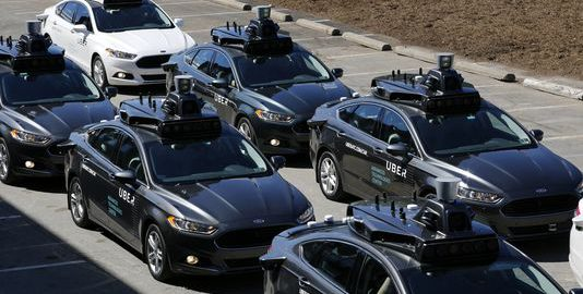 A group of self driving Uber vehicles position themselves to take journalists on rides during a media preview at Uber's Advanced Technologies Center in Pittsburgh (Image: GJ. Puskar, AP)