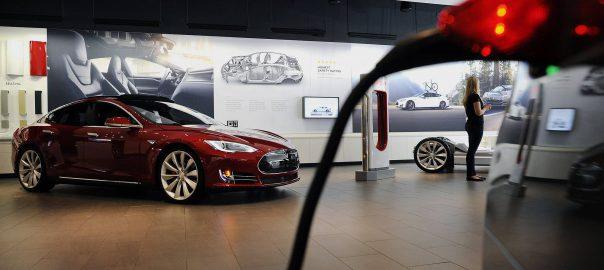 A Tesla showroom in San Jose, California (Image: Bloomberg)