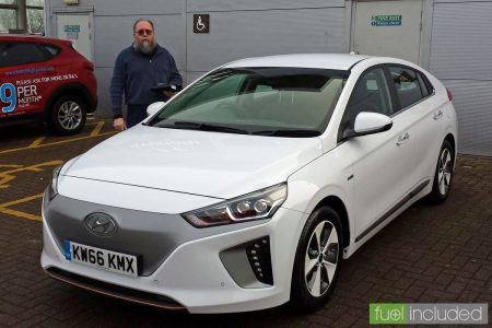 A Happy Trevor and his Hyundai Ioniq (Image: T. Larkum)