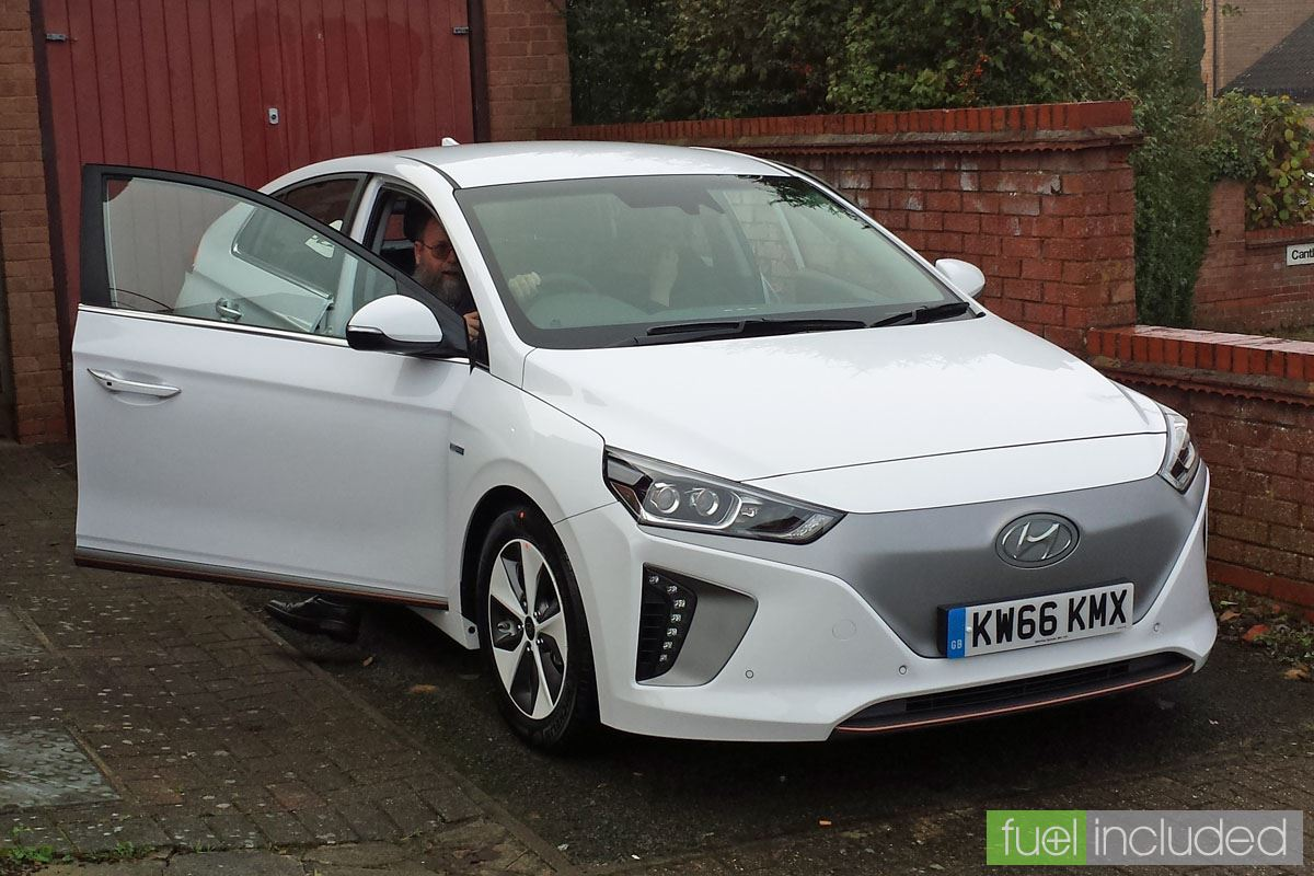 Trevor Heale at home in his new Ioniq Electric (Image: T. Larkum)