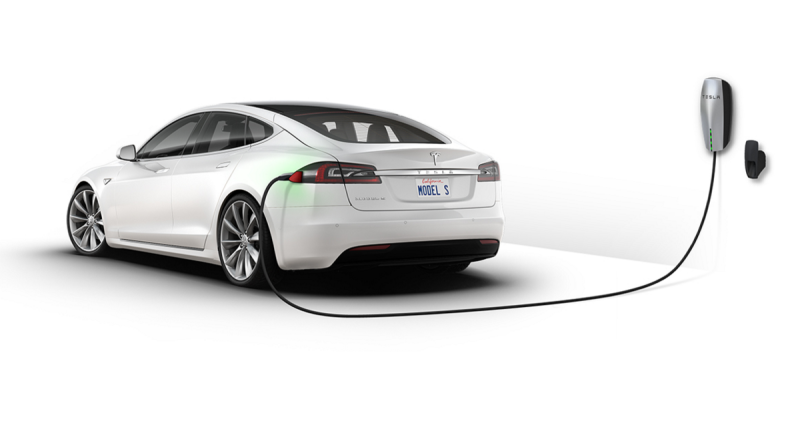 Tesla Model S on charge (Image: Tesla)