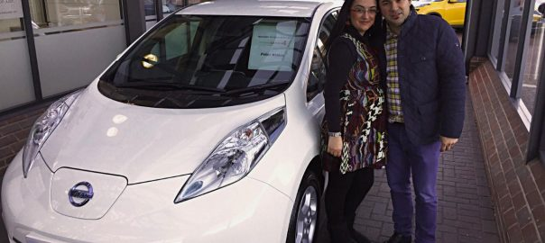 Petar Kralev and his wife, Lyuba, collecting their Nissan LEAF (Image: Evening Standard)