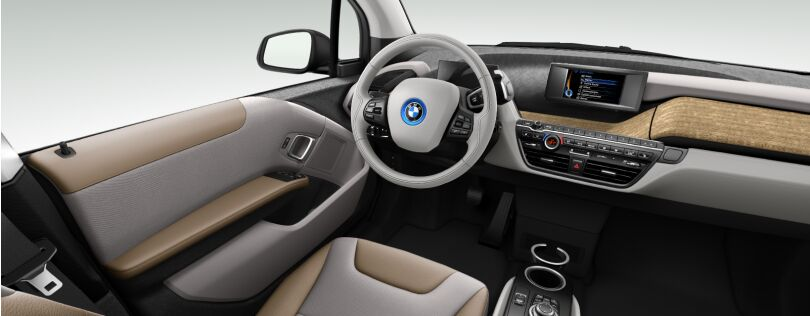 BMW i3 interior: Lodge interior world with standard Eucalyptus trim (Image: BMW.co.uk)