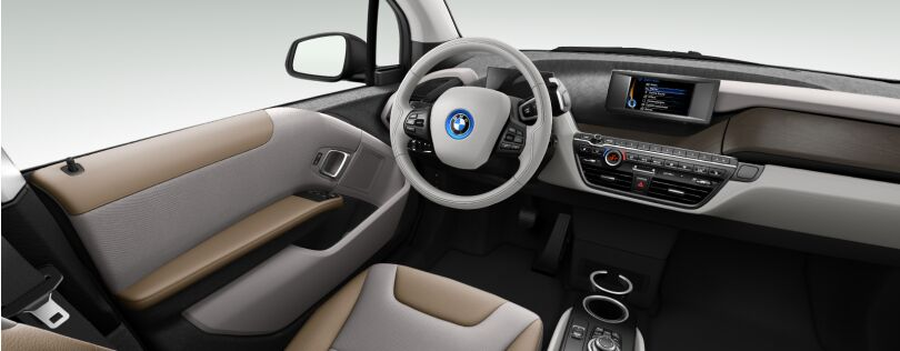 BMW i3 interior: Lodge interior world with optional Oak trim (Image: BMW.co.uk)