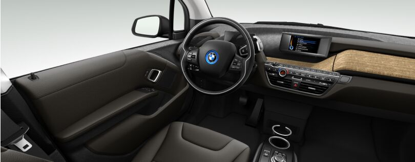 BMW i3 interior: Suite interior world with optional Eucalyptus trim (Image: BMW.co.uk)